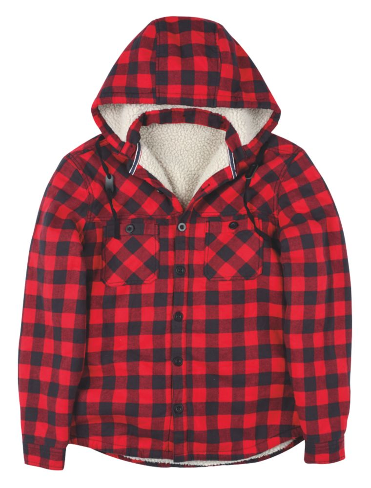 "Site Cedar Borg-Lined Hoodie Red Check Medium 39-41"" Chest"