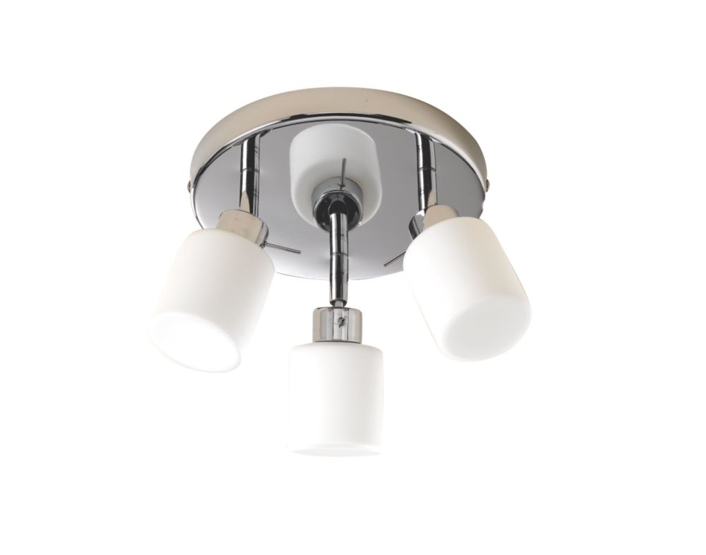 Chrome & White 3-Plate Bathroom Spotlight 25W