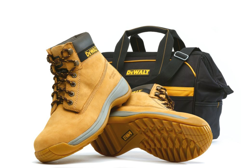 DeWalt Apprentice Safety Boots Wheat Size 9 + Free Tool Bag