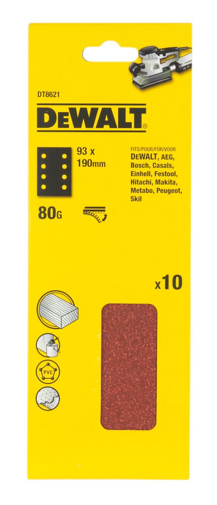 DeWalt 93 x 190mm 80 Grit 1/3 Sanding Sheets Pack of 10