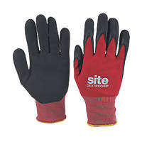 Site Dextrogrip Nitrile Foam-Coated Gloves Red / Black Large