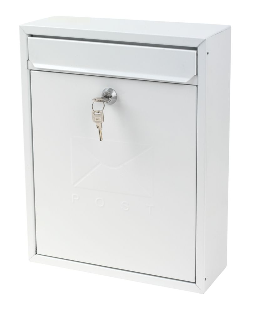 Sterling Compact Post Box White Powder-Coated Steel