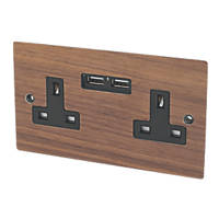Varilight 13A 2-Gang Plug Socket + 2.1A USB Solo Wood Walnut