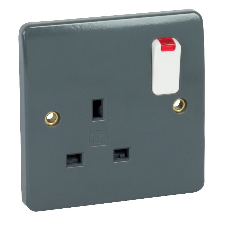 MK Logic Plus 13A 2-Gang DP Switched Plug Socket with Neon Graphite