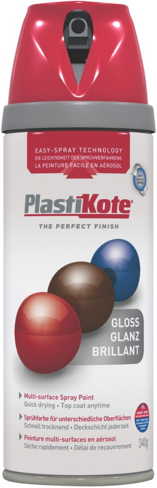 Plasti-Kote Premium Spray Paint Gloss Bright Red 400ml