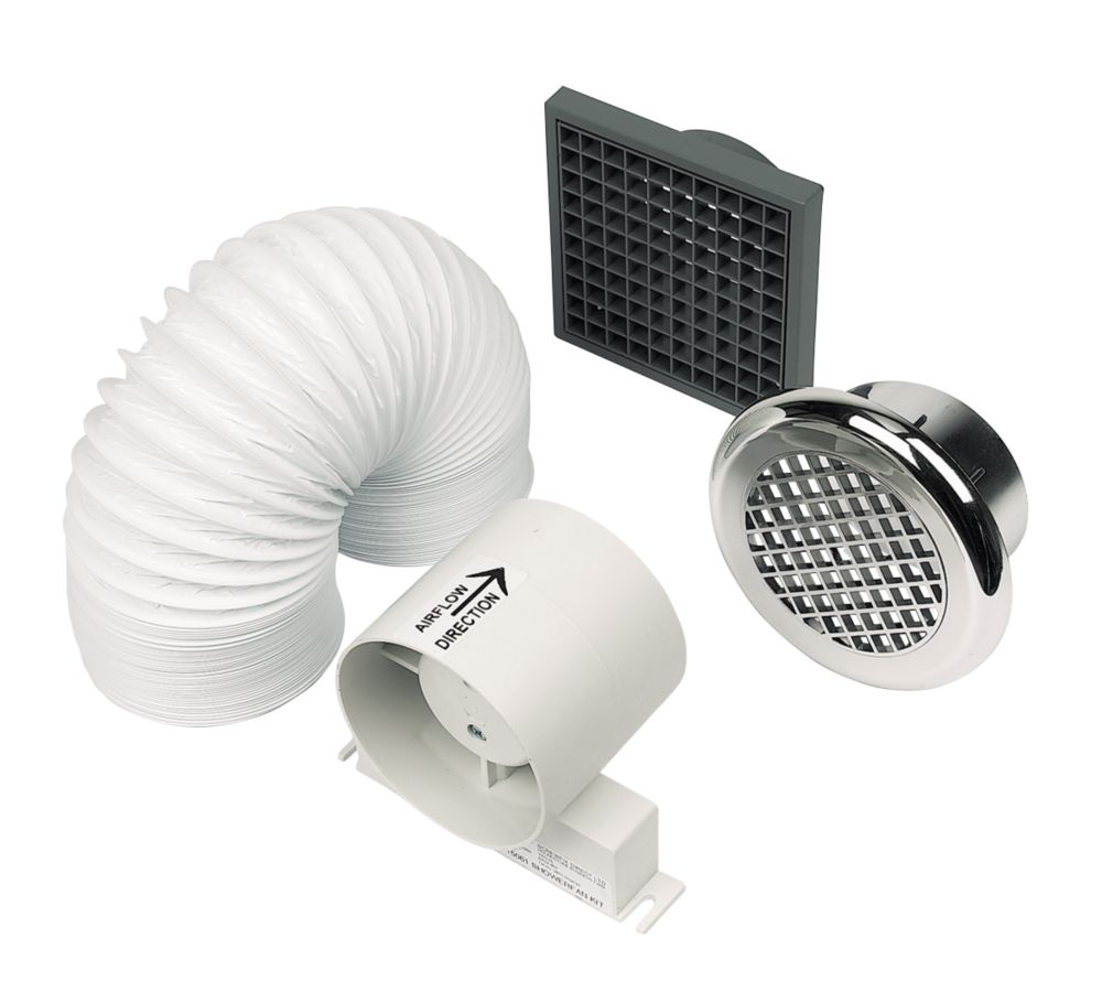 Manrose In-Line Chrome 20W Shower Fan Kit
