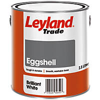 Leyland Trade Eggshell Paint Brilliant White 2.5Ltr