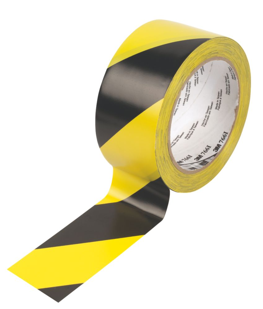 3M Hazard Warning Tape Black/Yellow 50mm x 33m