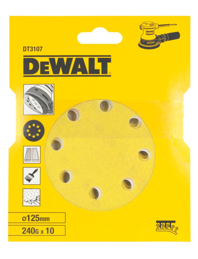 DeWalt 125mm 240 Grit Sanding Discs Punched Pack of 10