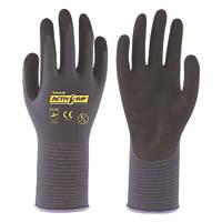 Towa ActivGrip Advance Nitrile Foam-Coated Gloves Black/Purple Medium