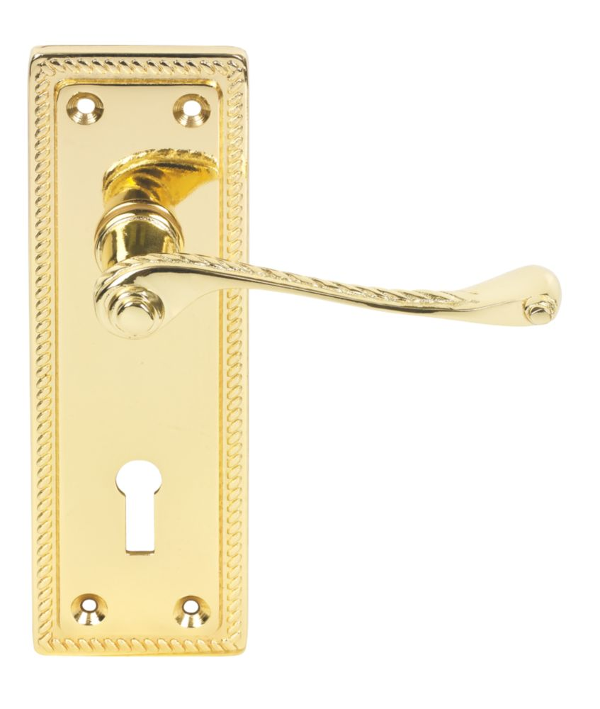Georgian Long Backplate Scroll Lock Door Handles Pair Brass Effect