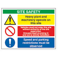 """""""Heavy Plant & Machinery Operate On Site"""" Sign 600 x 800mm"""