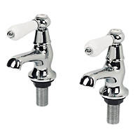 Swirl Period Bathroom Basin Lever Taps Pair