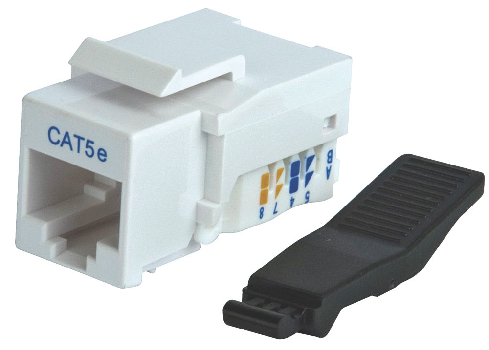 Philex RJ45 CAT5E Jack Punch Down Outlet 90° White