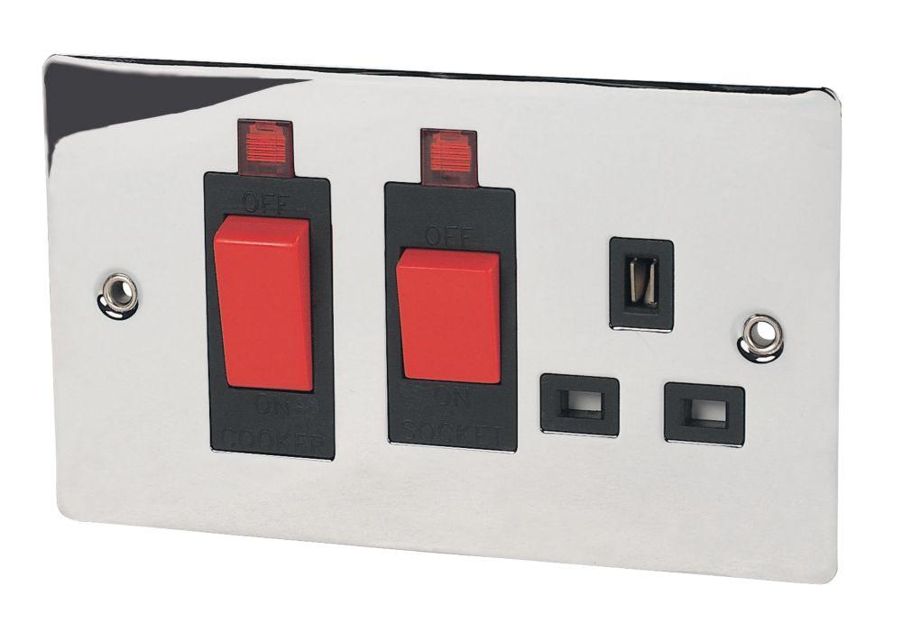 Volex 45A DP Switch with 13A Socket Blk Ins Pol Chrome Flt Plt