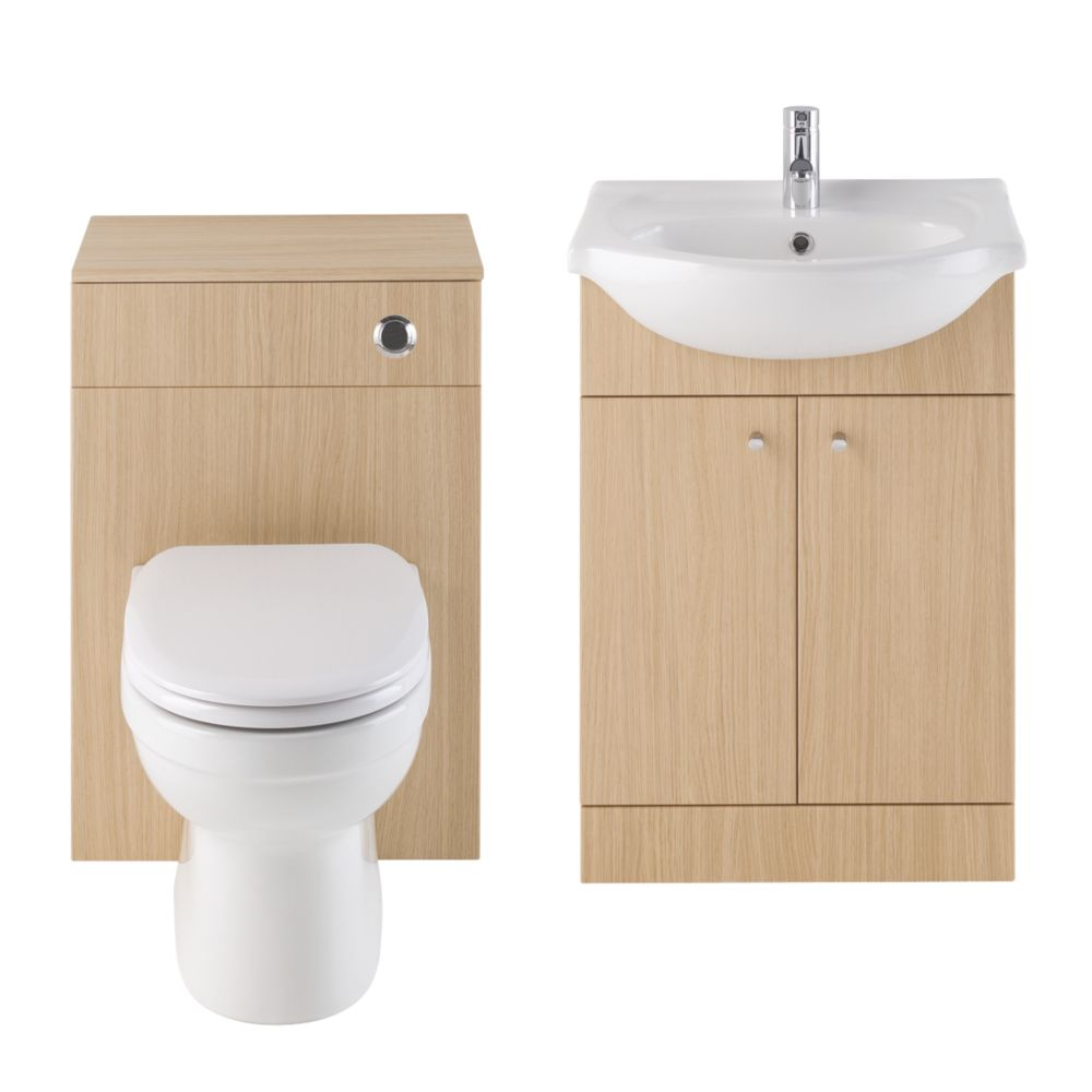 Vanity Bathroom Basin & Toilet Unit Natural Oak 1030mm