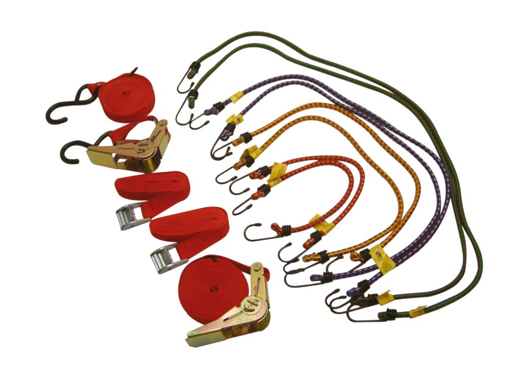 Thorsen Ratchet Tie-Down & Bungee Set 12 Pieces