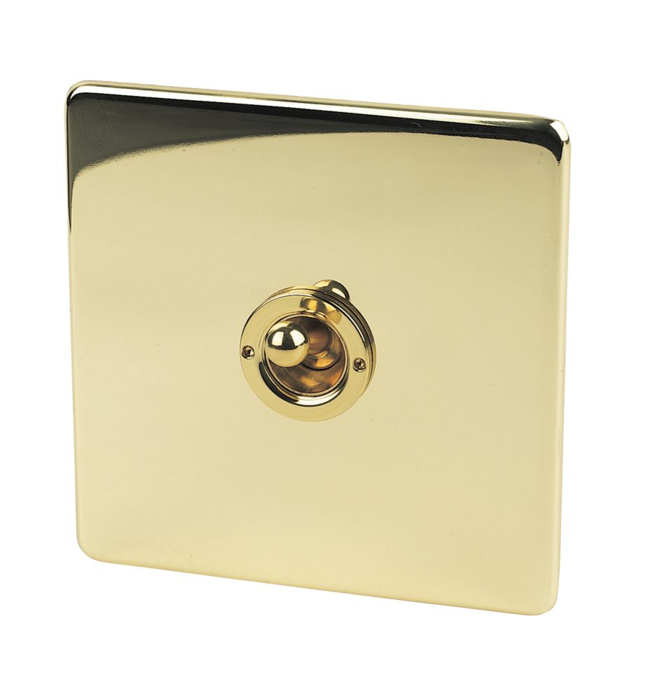 Crabtree 1-Gang 2-Way 10AX Toggle Switch Pol Brass Flat Plate