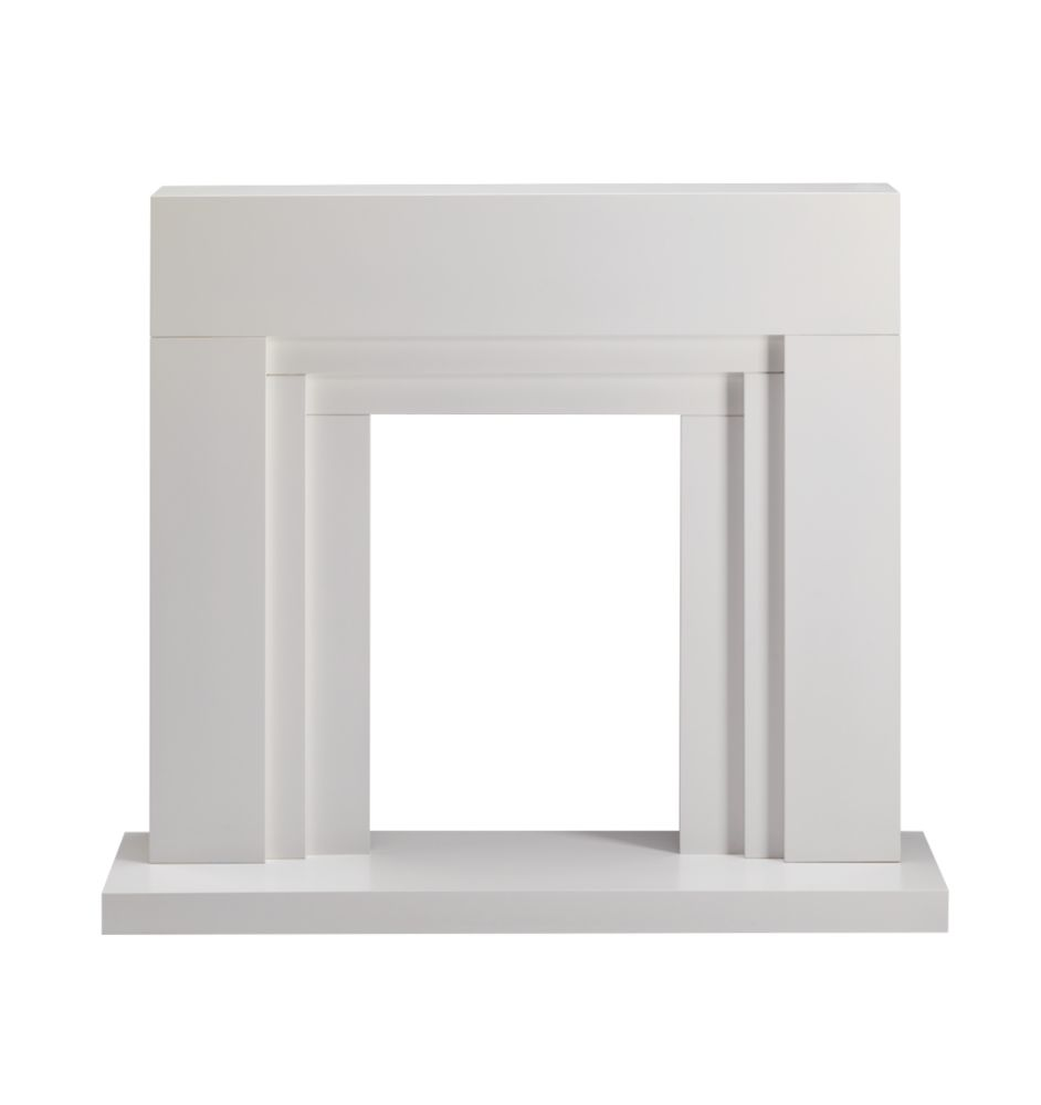 Winther Browne Naples Contemporary Fire Surround Set Satin White