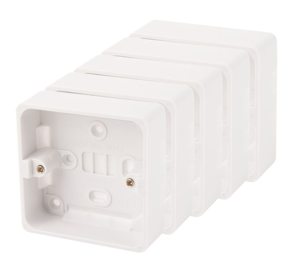 Crabtree 1-Gang Surface Pattress Box White 29mm Pack of 5
