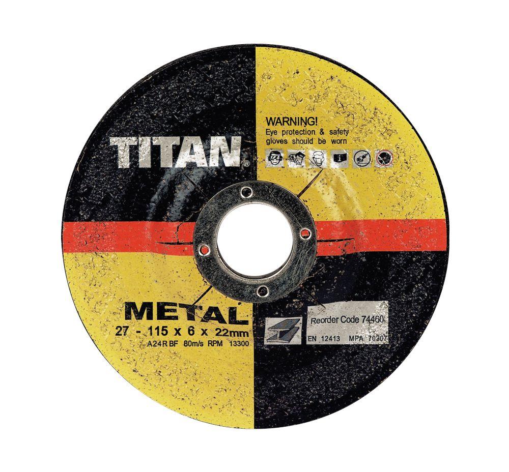 Titan Metal Grinding Discs 115 x 6 x 22mm Pack of 10