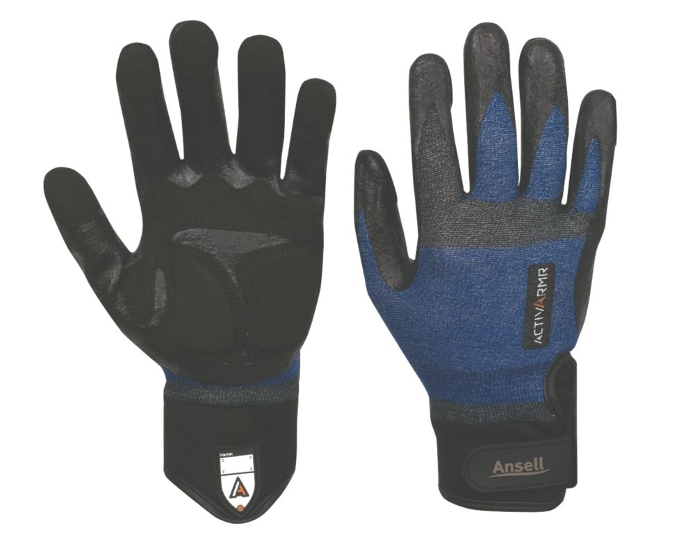 Ansell ActivArmr Specialist Handling Plumbers Gloves Blue / Black Large