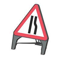 "Melba Swintex Q Sign Triangular ""Road Narrows Right"" Safety Sign 870 x 1220mm"