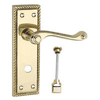 Smith & Locke Long Georgian WC Door Handles Pair Polished Brass