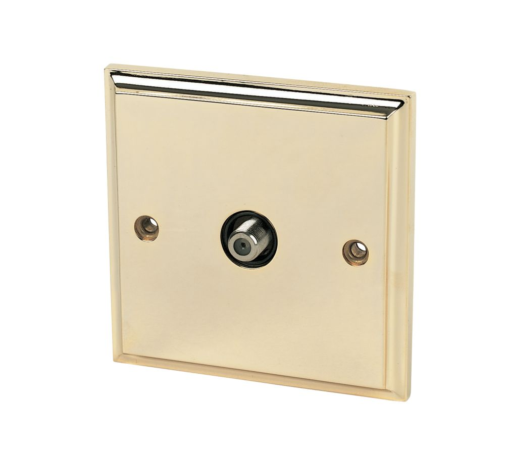 1-Gang F Satellite Socket Victorian Brass