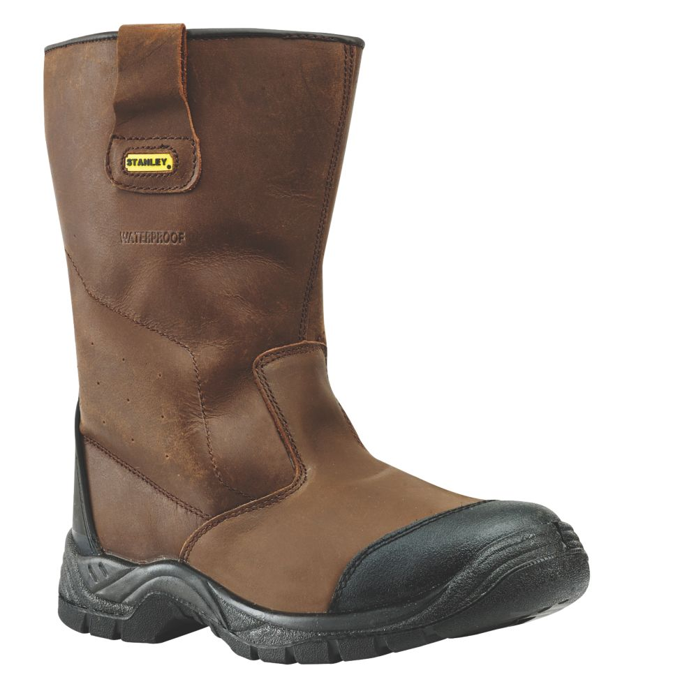 Stanley Waterproof Rigger Safety Boots Brown Size 8