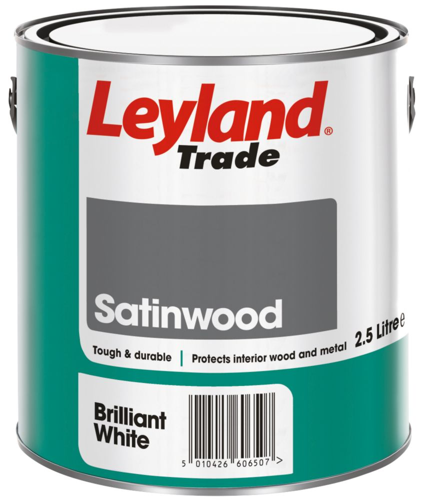 Leyland Satinwood Paint Brilliant White 2.5Ltr