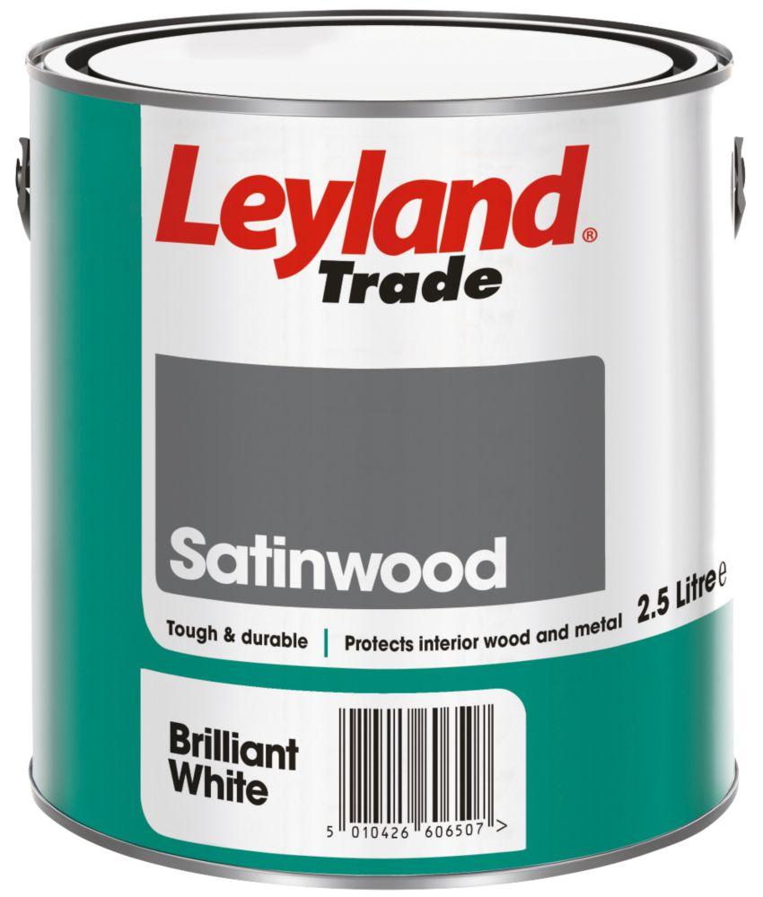 Leyland Satinwood Paint Brilliant White 2.5Ltr