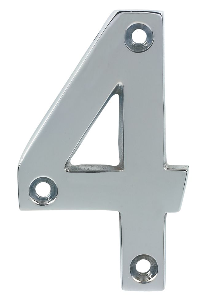 Door Numeral No. 4 Polished Chrome 75mm