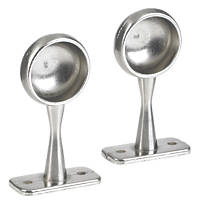 Rothley Colorail Wardrobe/Towel Rail End Supports Brushed Nickel 25mm 2 Pack