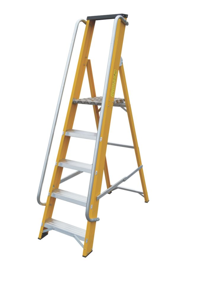 Lyte Platform Ladder with Safety Handrails 5-Tread 1.67m