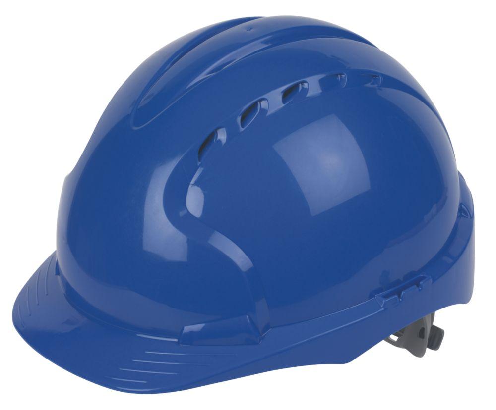 JSP EVO 3 Comfort Plus Adjustable Slip Vented Safety Helmet Blue