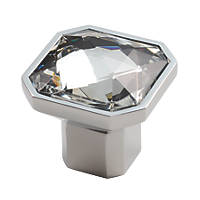 Carlisle Brass Crystal Square Furniture Knob Polished Chrome 32mm