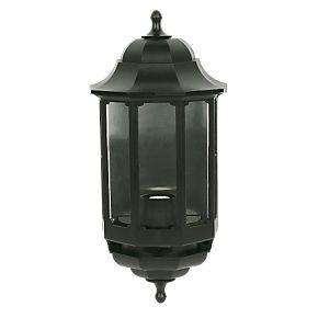 asd 60w black half lantern wall light outdoor wall. Black Bedroom Furniture Sets. Home Design Ideas