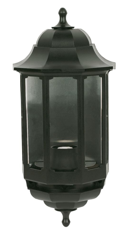 Screwfix Outdoor Wall Lights : ASD 60W Black Half Lantern Wall Light Outdoor Wall Lights Screwfix.com