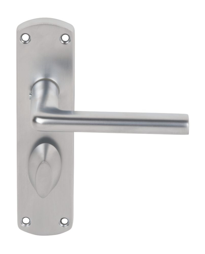 Serozzetta Uno Lever on Backplate WC Door Handles Pair Satin Chrome