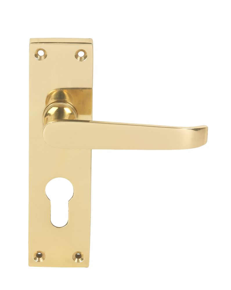Jedo Euro Lever on Backplate Straight Lock Door Handles Pair Brass Effect