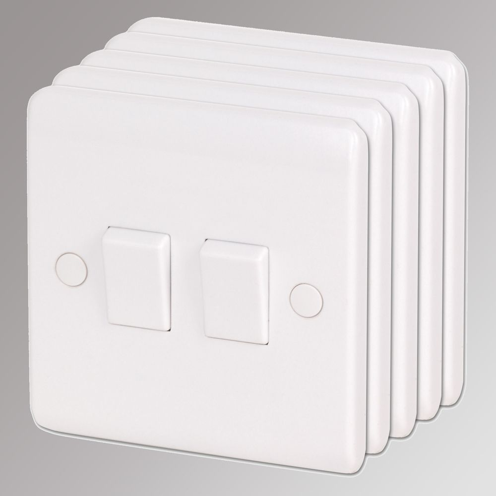 LAP 2-Gang 2-Way 10AX Light Switch White Pack of 5