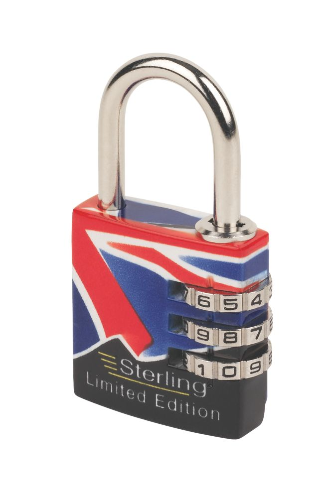 Sterling 3-Dial Brass Combination Padlock Union Jack Design 30mm
