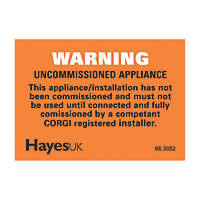 Hayes UK Warning Uncommissioned Appliance Labels 10 Pack