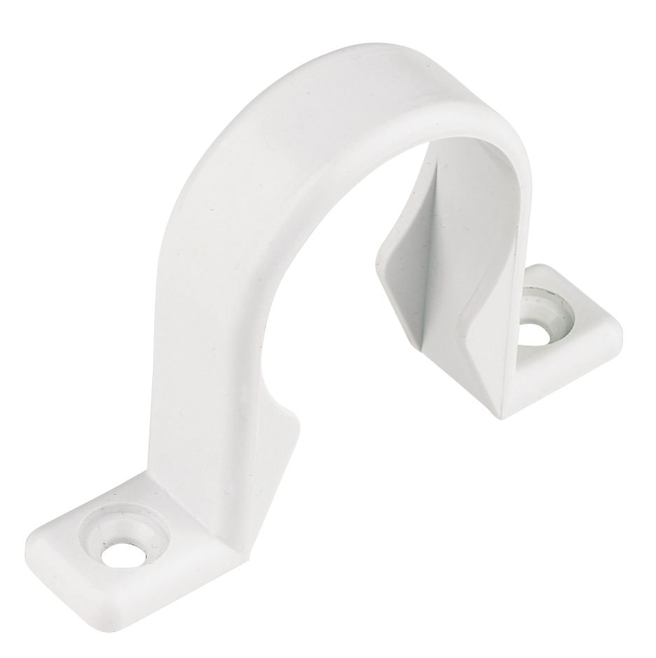 White Waste Pipe Clips 32mm Pack of 20
