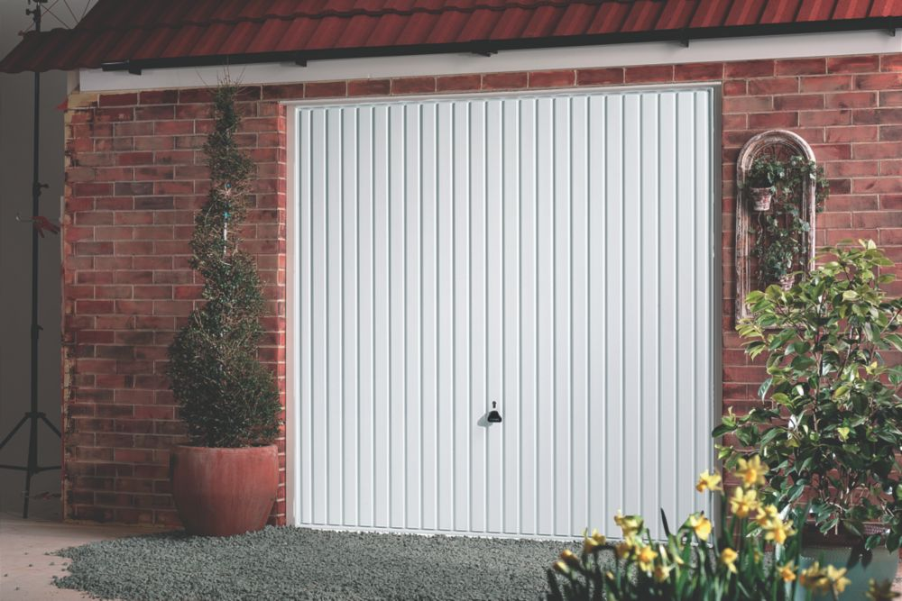 "Carlton 7' x 6' 6"" Framed Steel Garage Door White"