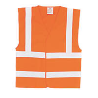 """Portwest Hi-Vis Waistcoat Orange XX Large / XXX Large 55"""" Chest"""