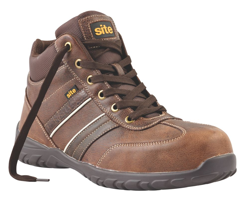 Site Grit Safety Boots Brown Size 8