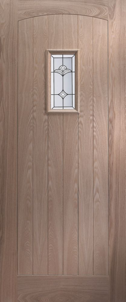 Jeld-Wen Croft Single-Light Glazed Exterior Door Oak Veneer 838 x 1981mm