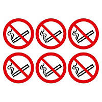 No Smoking Symbol Adhesive Labels 100mm 230 x 330mm 30 Pack